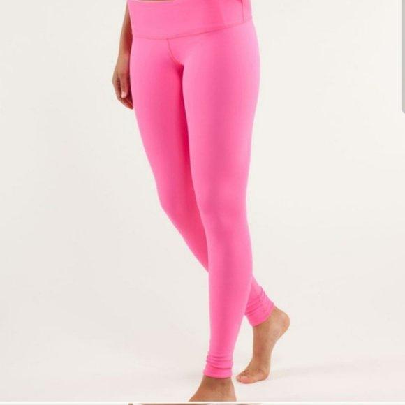 lululemon athletica Pants - Lululemon pink reversible yoga pants soft pink